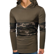 2019 spring and autumn new mens stretch cotton camouflage mesh stitching large size S-XXXL hooded assassin long-sleeved T-shirt
