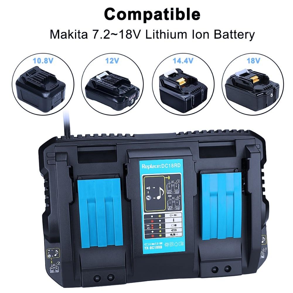 Najnowszy z portem USB dla Makita bateria ładowarka 7.2 V 18 V podwójna ładowarka stanowisko służbowe dla Makita 7.2 V do 18 V BL1830 BL1815 DC18RC w Ładowarki od Elektronika użytkowa na  Grupa 1