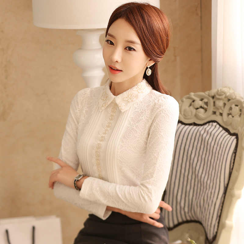 2019 spring new lace women blouse thicken elegant office lady slim casual white shirts fashion outwear tops