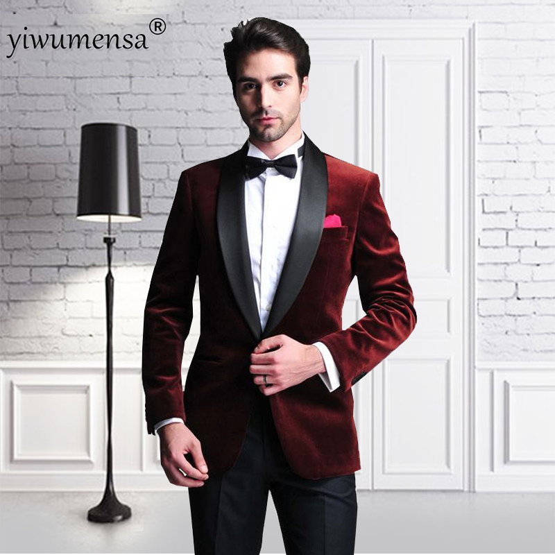 Yiwumensa Wine Red Two Pieces Men Suit Black Pants Costume Homme Mariage 2017 Traje Hombre Formal Custom Made Man Wedding Siuts