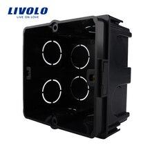 Livolo Бесплатный выбор, черные пластиковые материалы, ЕС стандартный внутренний монтажный ящик для 80 мм* 80 мм стандартный настенный светильник переключатель