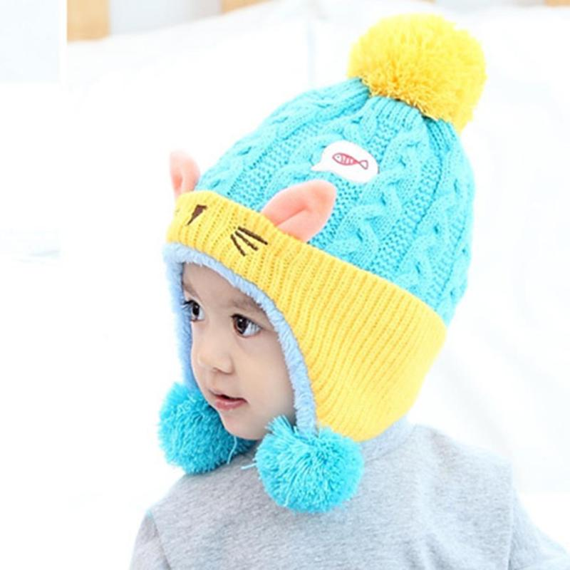 2017 Winter Baby Hat Kids Earflap Caps Beanie Cute Children Boy Girl Cartoon Knitted Wool Hat Infant Kids Soft Warm Hat Skullies