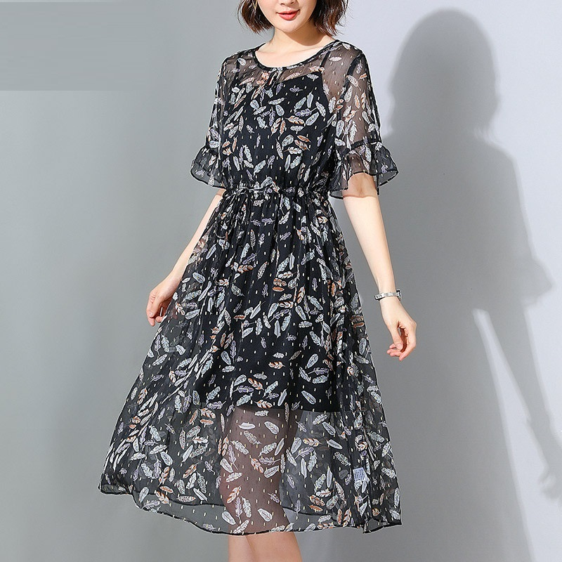 255af47e226 Verano-de-las-mujeres-de-gasa-Floral-elegante-vestido-longos-Vestidos -flare-mangas-cintura-el-stica.jpg