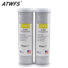 ATWFS 2 шт. Универсальный фильтр для воды картридж с активированным углем фильтр, 10 дюймов CTO блок угольный фильтр система очистки воды