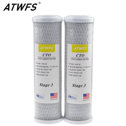 ATWFS 2pcs Universal Water Filter Activated Carbon Cartridge Filter, 10 Inch CTO Block Carbon Filter Water Purification System