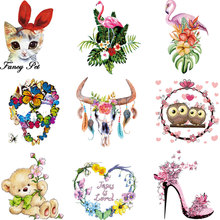large patch flower unicorn flamingo rabbit iron on patches for clothing diy accessories sticker transfert thermocollants t-shirt цена