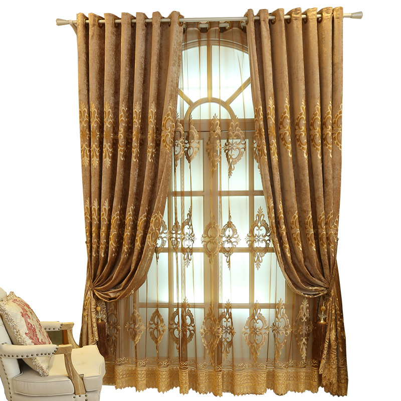 The New Pop Chenille Embroidery Elegant Curtains For Living Room