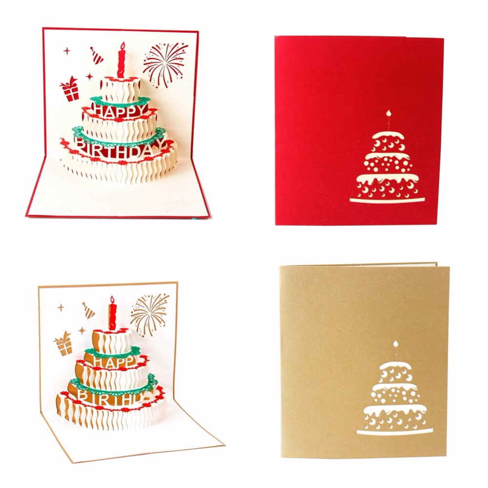 ⃝3D Happy Birthday Card Handmade Paper Card Cake Personalized ...