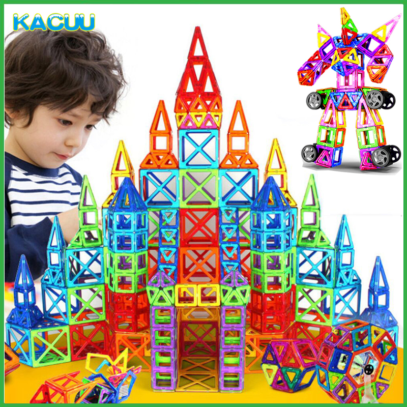 цена на 107-123PCS Big Size Magnetic Designer Building Blocks Model & Building Toys Brick Enlighten Bricks Magnetic Toys for Children