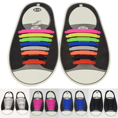 16Pc Set Women Men Athletic Shoelaces Elastic Silicone All Sneakers Fit Strap