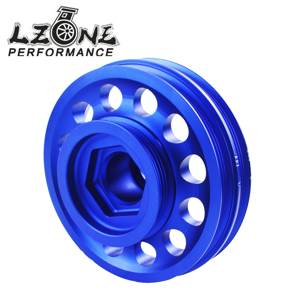 LZONE RACING - Light Weight Aluminum Crankshaft Crank Pulley For 96-00 Civic D16 SOHC JR-CP014 blox racing 2pcs adjustable cam gear pulley cam pulley set for honda civic integra d16a sohc 96 00 inlet and exhaust ep cgd16bl