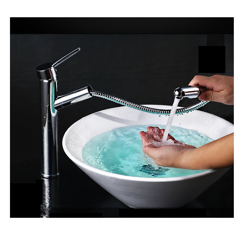 vdomus single handle widespread waterfall chromed copper pull out bathroom  faucet wall mount glass bathtub kitchen sink lavatory. Wall Mount Kitchen Faucet With Pull Out Spray  Brushed Nickel