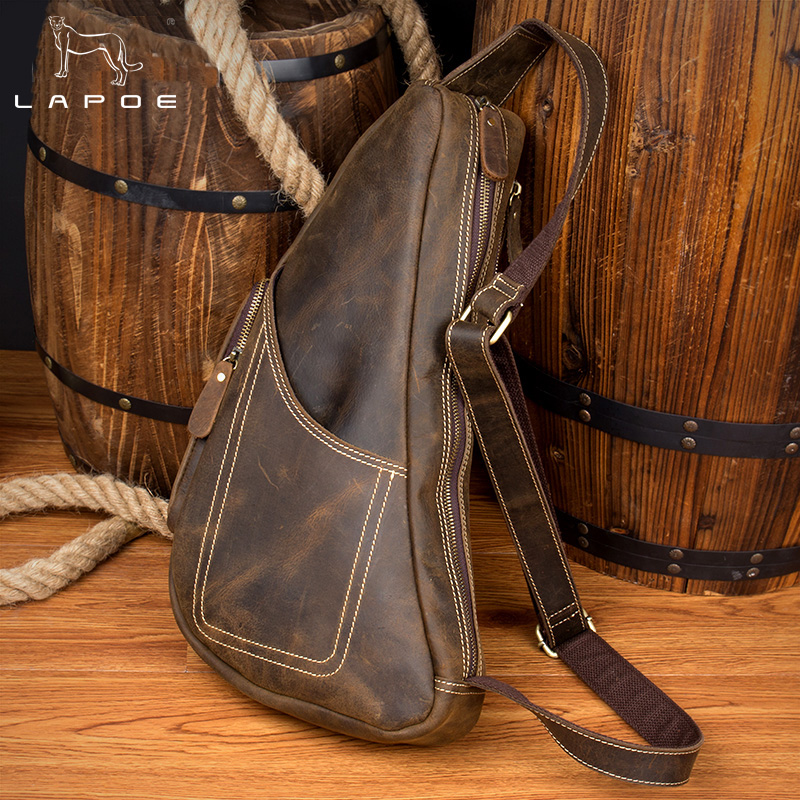 Genuine Leather Vintage Sling Bag Crazy Horse Leather Men Chest Pack Crossbody Shoulder Bag Messenger Bags For Travel Chest Bag laoshizi luosen genuine leather chest bag for men messenger bags vintage crossbody sling bag man shoulder bag small chest pack