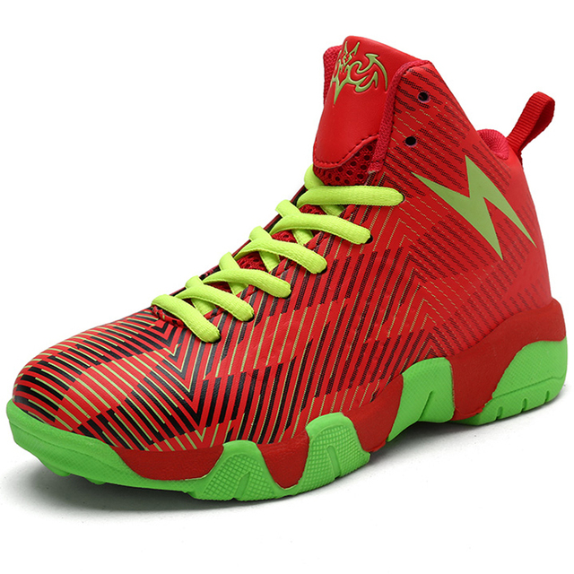Boys Basketball Shoes Thick Sole Non-slip Leather Kids Sneakers Footwear High Top Outdoor Rubber Children Basket Ball Shoes Hot