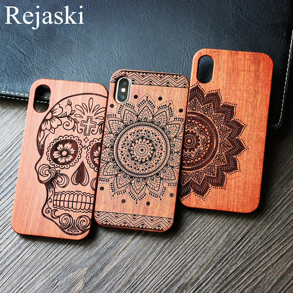 26 Style Indian Warrior Tribal Henna Skull Tree Mandala Flower Wooden Phone Case For Iphone 6 6S 8 Plus 7 7Plus 5 SE X Cover