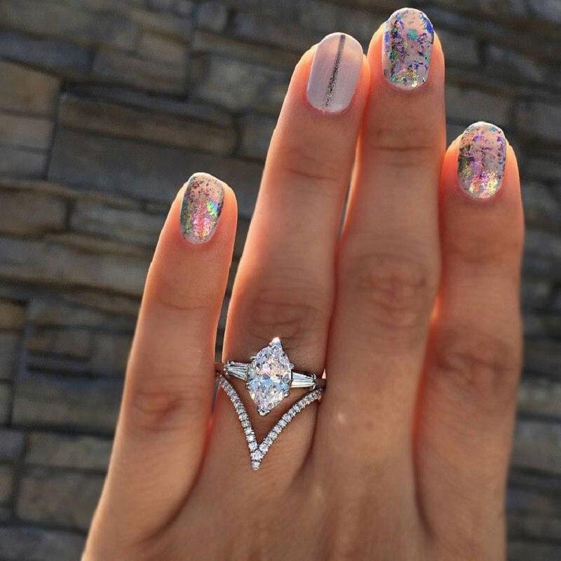 Новинка, высокое качество, кристалл, твист, Классические кубические Свадебные Кольца для женщин, розовое золото, 2ct, AAAA, белый цирконий, кольцо, Прямая поставка - Цвет основного камня: B-Silver Color