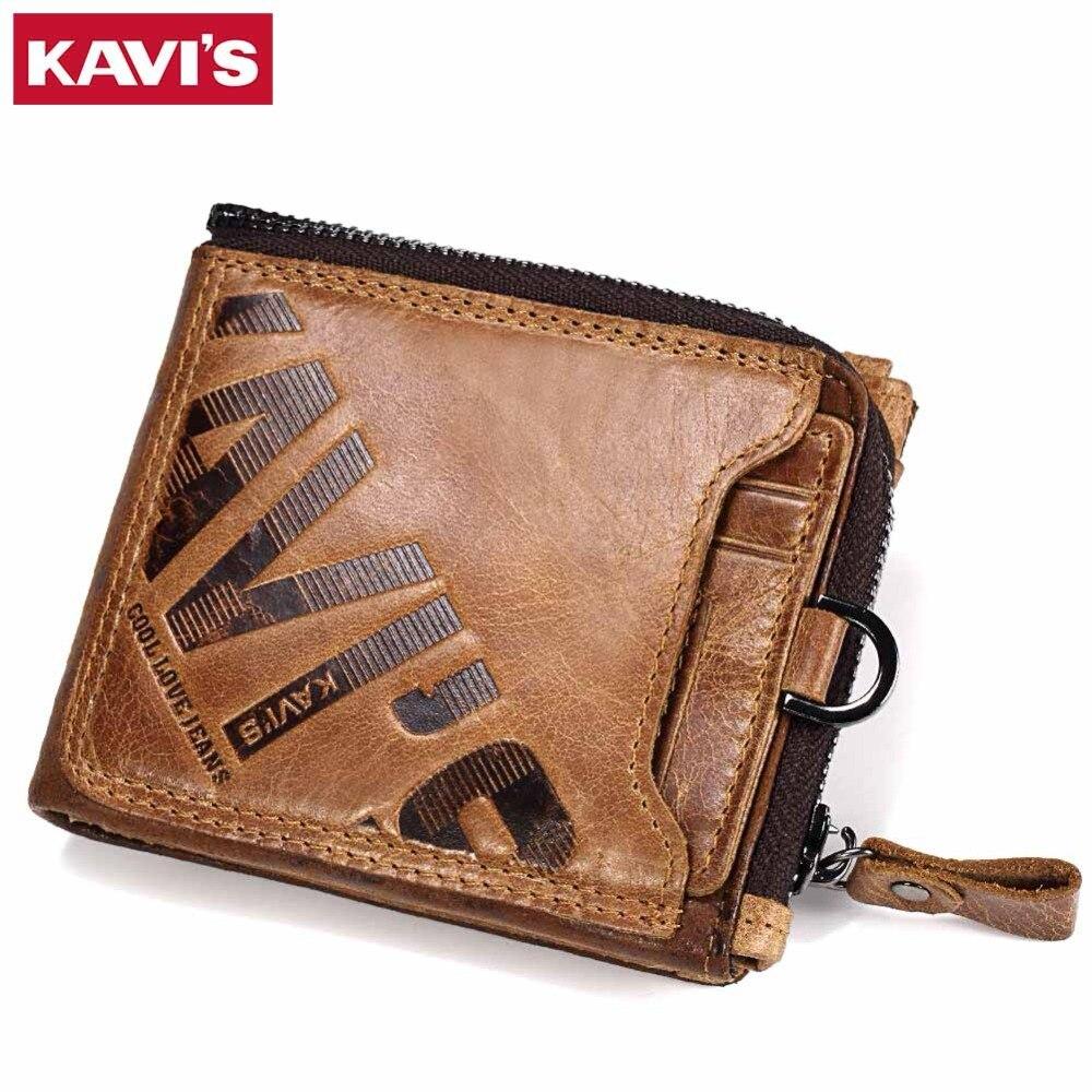 KAVIS Crazy Horse Genuine Leather Wallet Men Coin Purse Male Cuzdan Walet Portomonee PORTFOLIO  Perse Small Pocket money bag