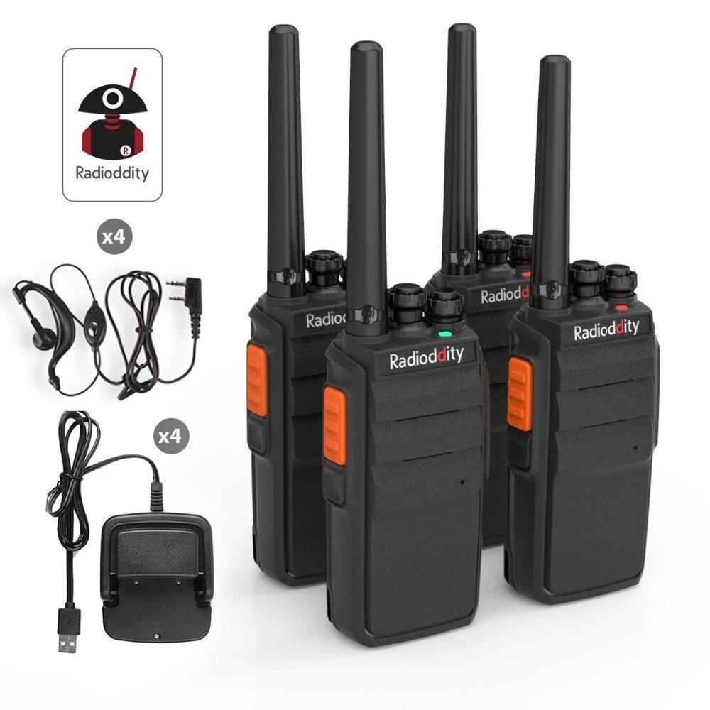 4 pcs Radioddity R2 PMR446Mhz Deux Way Radio 16CH UHF Scrambler VOX Talkie Walkie Longue Portée avec USB Chargeur + écouteur