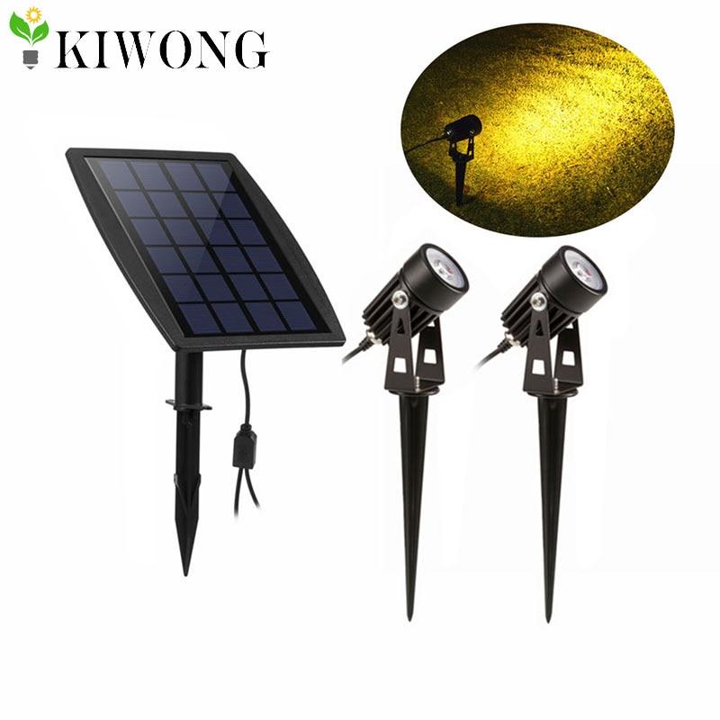 New Solar Powered Led Spotlight Adjustable Double Head