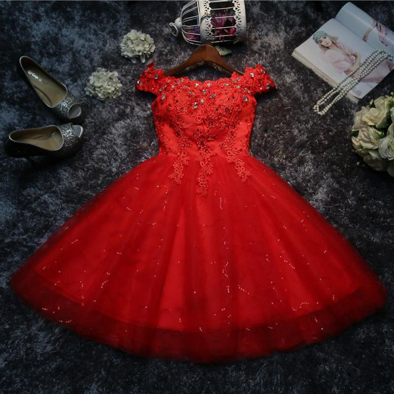 Do Dower New Arrival Red Applique Short Evening Dress Sexy Boat Neck Off The Shoulder Lace Up Prom Evening Gown Robe Soiree L