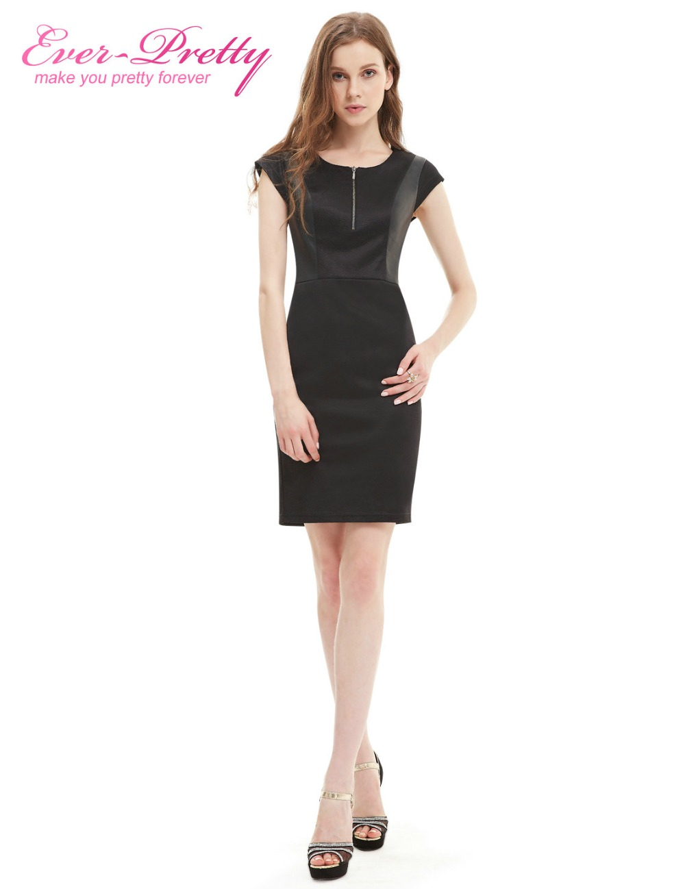 [Clearance Sale] Party   Dress   Stylish Body-con Ever Pretty Black Sexy Stretchy Short Sleeve   Dresses   Women HE05306BK 2018