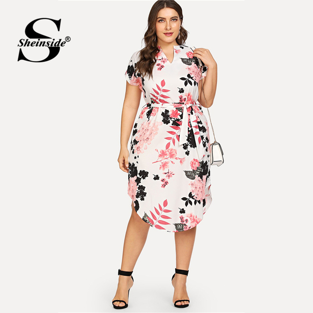 Sheinside Plus Size Elegant Floral Print Straight Belted Dress Women 2019 Summer Casual Roll Up Sleeve Boho Midi Dresses 2