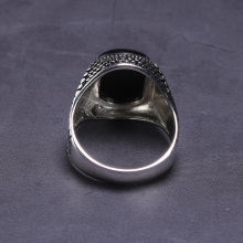 Men's Black Onyx Inlaid Ring