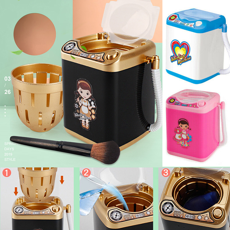 Mini Electric Makeup Brush Cleaner Washing Machine Dollhouse Toy Cosmetic Brush Powder Puff Washer Beauty Cleaning Blender Tool