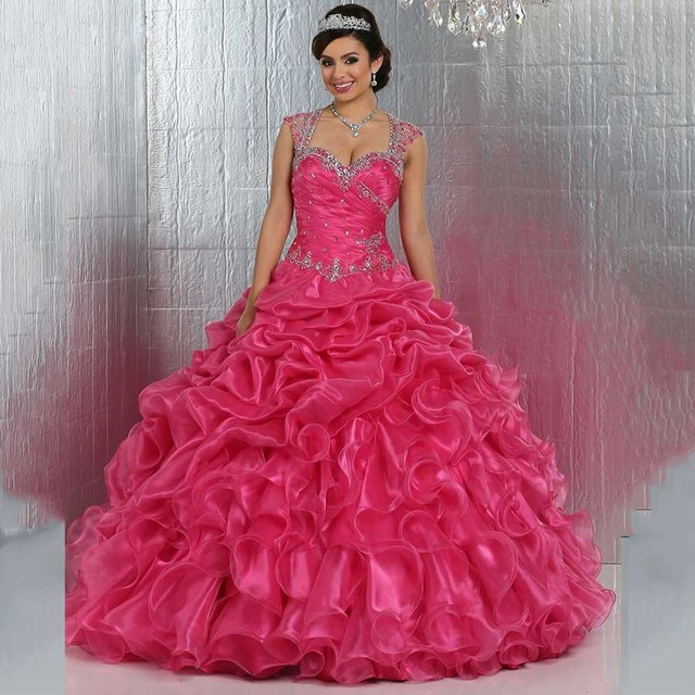 f4b0e4d273 US $205.0 |Puffy Vestidos De 15 Anos 2016 Ball Gown Hot Pink Quinceanera  Dress for 15 Years Luxury Beaded Straps Sheer Back with Crystals-in ...