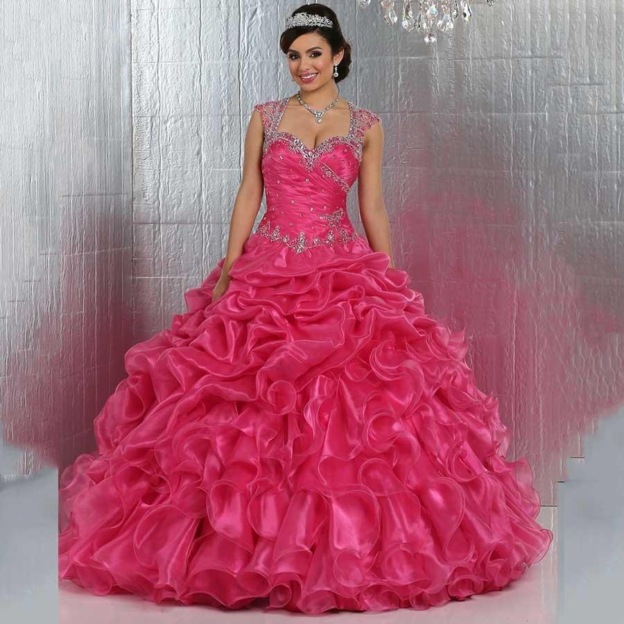 280161e50 Puffy Vestidos De 15 años 2016 De bola del vestido Hot Pink vestido De  quinceañera para 15 años De lujo con cuentas correas pura volver con  cristales en ...