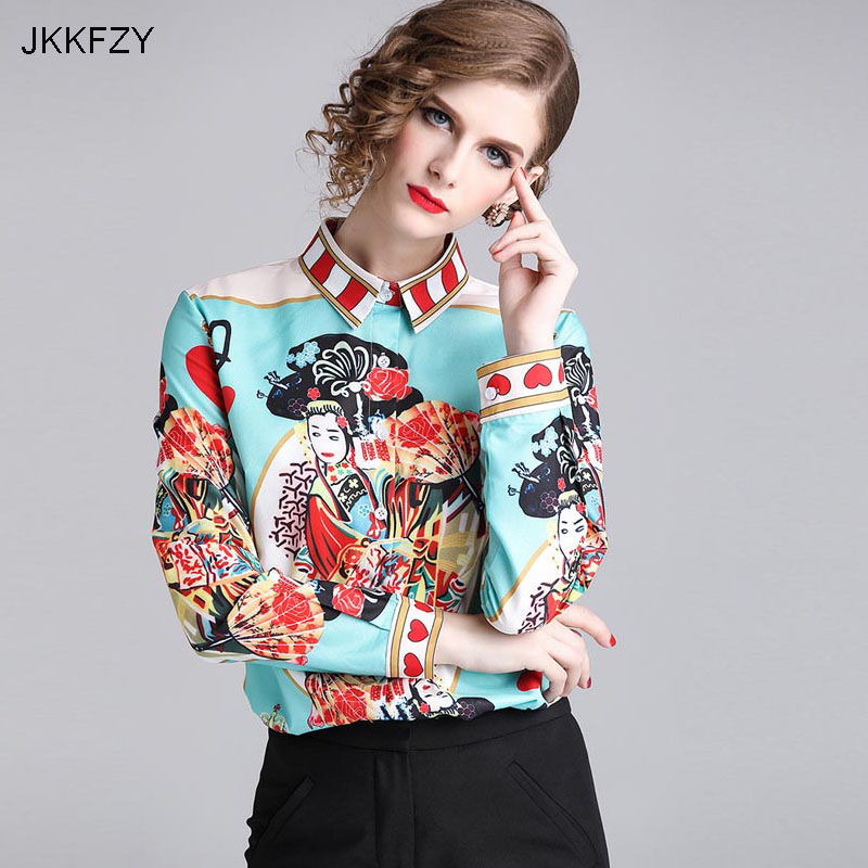 JKKFZY Women Fashion Autumn Print Shirt High Quality Full Sleeve Elegant Party Vintage Female Casual OL Style Office Blouse