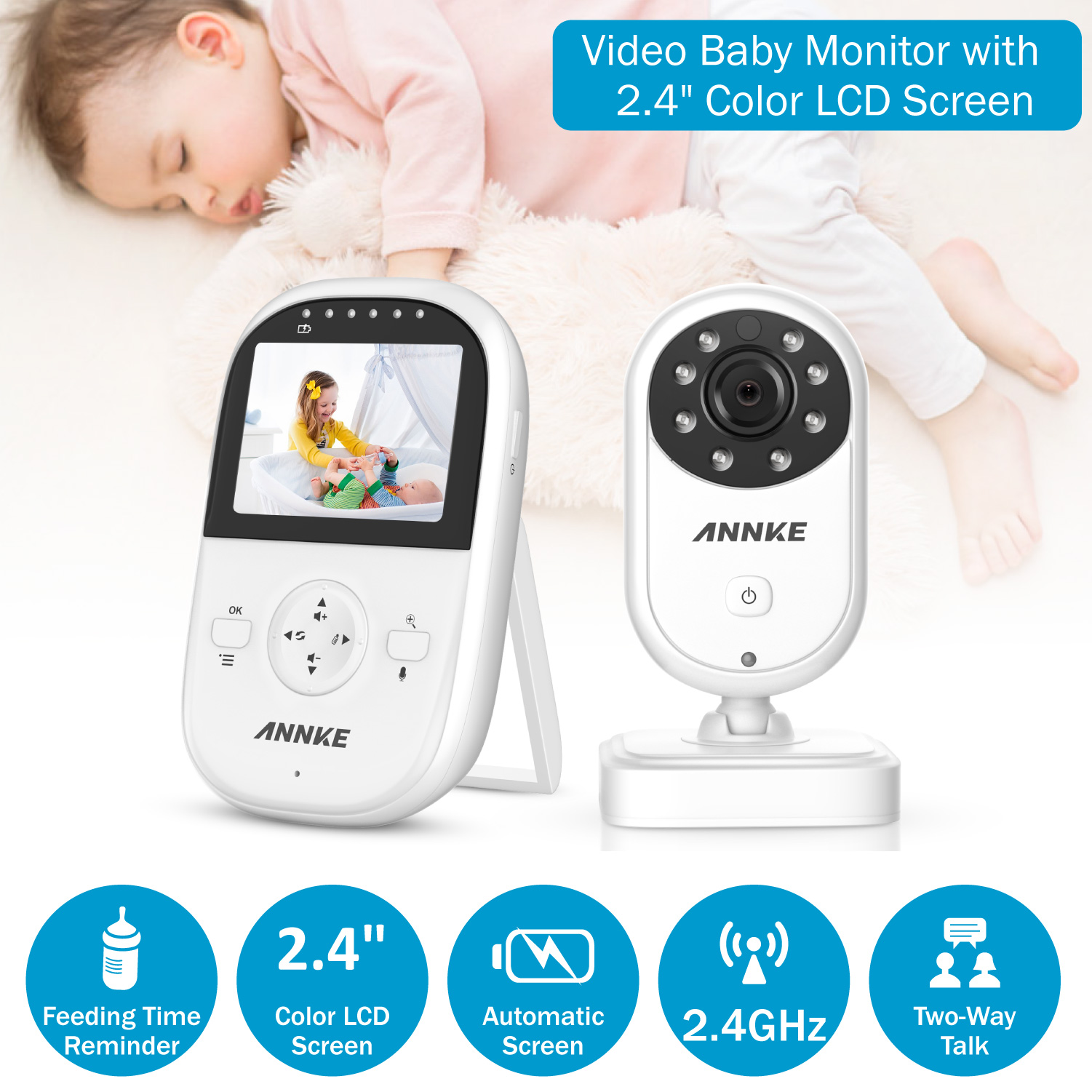 Cleansale UK US :Home Security Baby Monitor 2.4inch Displayer Night Vision Camera Wireless Mini Camera Surveillance Night Vision