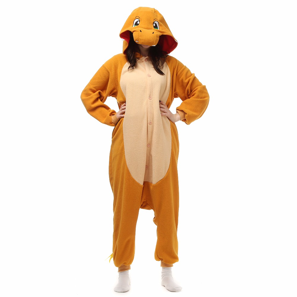 Jul Halloween Bursdagsgave Charmander Fire Dragon Fleece Onesie Homewear Hoodie Pyjamas Nattøy Robe For voksne
