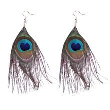 2019 New Arrival Women Long Earring Fashion Handmade Peacock Feather Earring New Thailand Vintage Bohemian Jewelry Long Earrings(China)