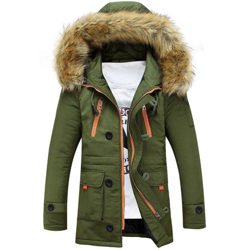 Outwear Warm Zipper pocket Jackets Men Fashion Windbreaker Coats Mens   Parka   Down Warm Long Jacket