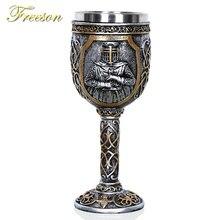 สแตนเลสนักรบ Goblet ไวน์ Retro แก้วค็อกเทลแว่นตา Knight ถ้วยวิสกี้ปาร์ตี้บาร์เครื่องดื่ม Dropship