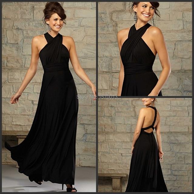 Halter Black Chiffon Girls Bridesmaid Dresses Sleeveless Back Bandage Dress  to Wedding Party Vestidos De Festa d2a80f5ef36e