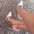 Плюс Размер 42 43 Ясно ПВХ Сращивания Прозрачный Обнаженная Обувь Для партия Острым Носом Тонкий Каблук Свадьба Насосы Женщины Стилет Высокие Каблуки