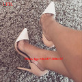Plus Size 42 43 Clear PVC Splice Transparent Nude Shoes For Party  Pointed Toe Thin Heel Wedding Pumps Women Stiletto High Heels