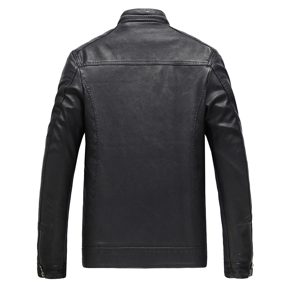 jaqueta de couro lelaki lelaki kulit jaket kulit bulu jaket kulit - Pakaian lelaki - Foto 3