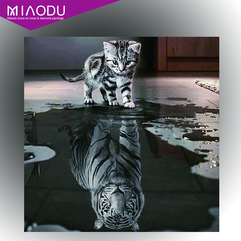 Miaodu Handicrafts Toys Cat Reflection Tiger Diamond Painting Cross Stitch Animal Diamond embroidery Mosaic European Home Decor shelf