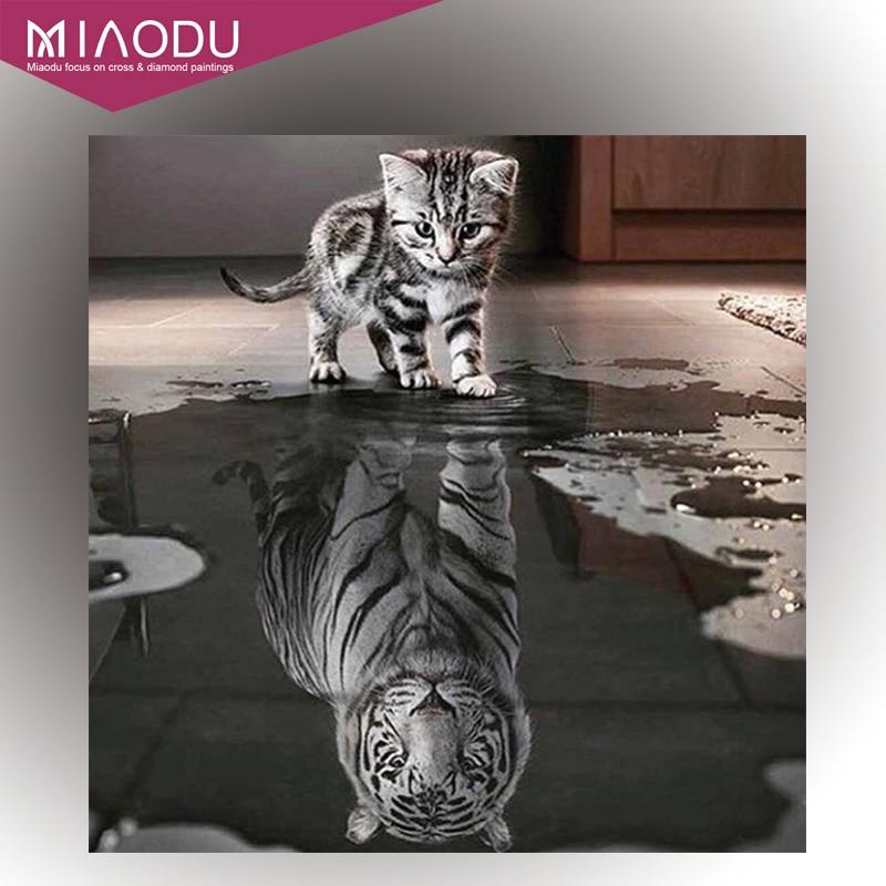 Miaodu Handicrafts Toys Cat Reflection Tiger Diamond Painting Cross Stitch Animal Diamond Embroidery Mosaic European Home Decor