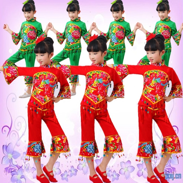China National Dance Service Stage Show Christmas Costume Yangko Clothing Traditional Chinese Clothes