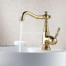 Поворотный носик водопроводной воды полированное золото Цвет латунь одной ручкой на одно отверстие Кухня раковина и Ванная комната кран бассейна смесителя agf003