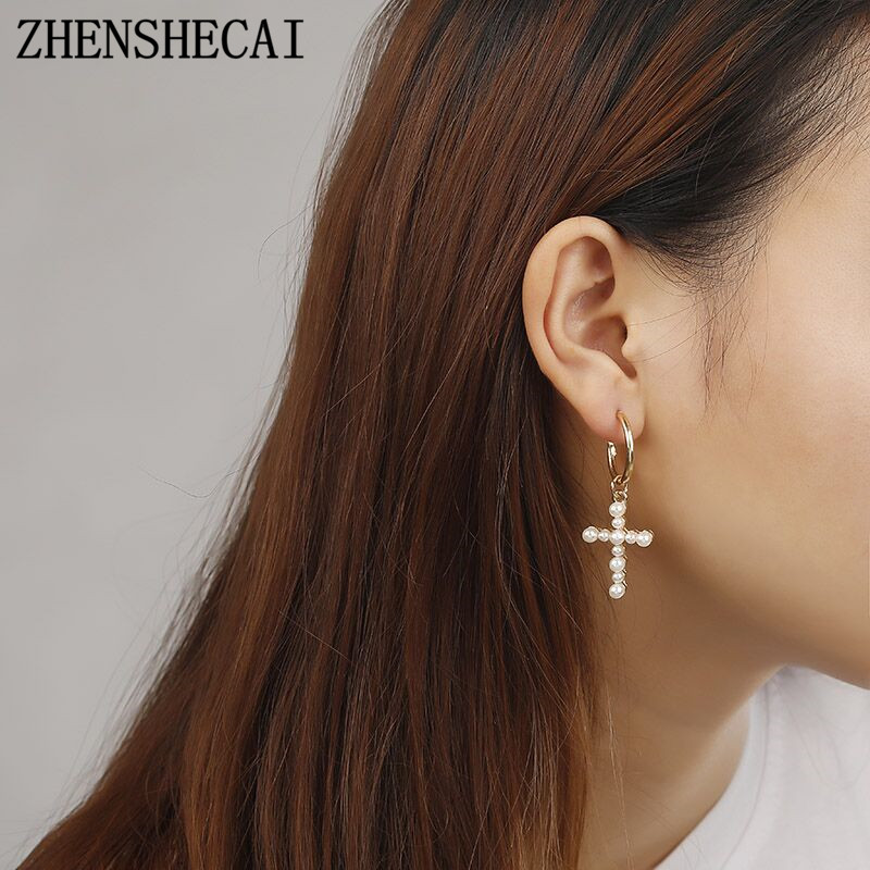 Long Drop Earring Imitation Pearl Geometric Cross Earring For Women Girl Wedding Party Jewelry Gift 2018 Hot New