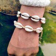 Modyle White Color Cowrie Shell Bracelets for Women Delicate Rope Chain Bracelet Beads Charm Bracelet Bohemian Beach Jewelry(China)