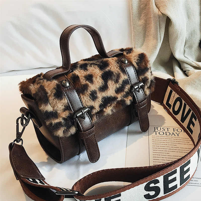 6d9f5cdd47bf Leopard satchels handbags belt buckle Women velour Letter shoulder strap  bag Fashion 2018 crossbody bags new