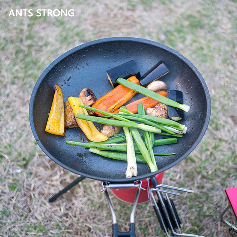 ANTS STRONG Non-stick barbecue frying pan/outdoor camping portable wok folding thickened bbq grill pan cookware