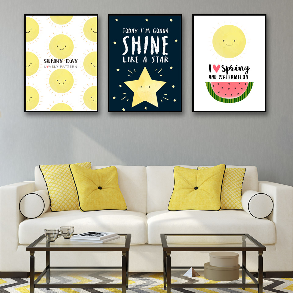 Noedic Home Decor Painting Stars And Smiling Cartoon Wall Art Canvas ...