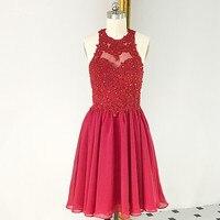 RSE879 Холтер декольте красные короткие платья для невесты